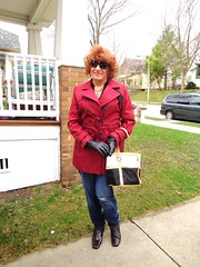 It's Not That I've Given Up Wearing Dresses and Skirts (Believe Me, I Haven't!) . . . (Laurette Victoria) Tags: jeans jacket sunglasses purse gloves boots redhead laurette milwaukee