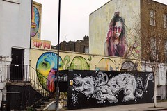 """230317 4 (Terterian - A million+ views, thanks.) Tags: london england capital city uk gb camden market town march 2017 graffiti grafitti graffitti art street """" art"""" urban spraypaint painting print printing message freedom expression public colour talent promotion graphic design mural wall poster anonymous secret hidden contemporary creative artistic surreal imagination abstract mass communication social comment important idiom sony dscr100 amy winehouse sunglasses shades purple hair dog hound wolf snake serpent"""