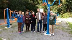 Comemorando a nova academia ao ar livre no Conjunto Veneza