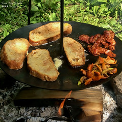 Breakfast in the Bush (Tara MacDonald - www.TheVillagePlate.com) Tags: bacon chanterelles daylilybuds frenchtoast breakfast camping
