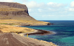 looks like caribbean (1) (kexi) Tags: iceland europe patreksfjordur fjord water ocean atlanticocean green blue turquoise coast shore road horizon canon may 2016 sky instantfave view landscape paysage cliff