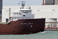 M/V Hon. James L. Oberstar upbound on the Detroit River (yyzgvi) Tags: mv hon james l oberstar the interlake steamship company joe louis arena detroit michigan lake freighter