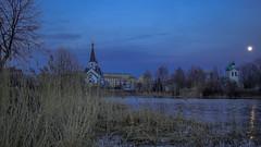 Evening in the park (pilot3ddd) Tags: stpetersburg pulkovskiypark pond churches moon spring olympuspenepl7 panasoniclumixg20mmf17 diamondclassphotographer