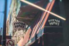 CHICAGO COMICS (Jovan Jimenez) Tags: sony ilce 6500 a6500 alpha 50mm nikor nikon f12 chicago comics comic store bokeh flare tilt shift tiltshift street retro lens manual vintage