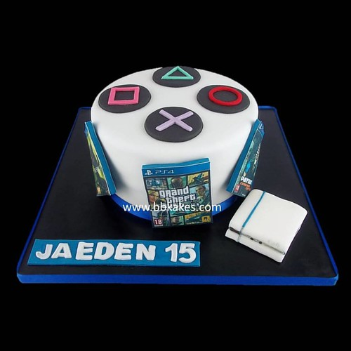 Fabulous Simple But Effective Ps4 Theme Cake Bbkakes Gamer Ps4Cake Ps4 Funny Birthday Cards Online Alyptdamsfinfo