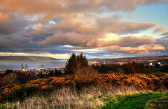 Sunset over Greenock (Phelan (Shutter Clickin) Goodman) Tags: sunset lyle hill greenock river clyde hills tenements buildings industrial shipping town hall churches fields houses dramatic sky shrubbery scotland cranes docks retail trees panasonic gx80 gx85 lumix phelangoodman