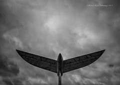 Tailplane (rhfo2o - rick hathaway photography) Tags: rhfo2o canon canoneos7d brooklands brooklandsmuseum weybridge surrey vickers vc10 a40ab gasix tailplane sky skies clouds bw blackandwhite mono