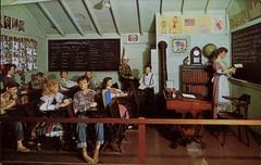 One Room Schoolhouse, House Of Wax, Santa Cruz, California (SwellMap) Tags: postcard vintage retro pc chrome 50s 60s sixties fifties roadside midcentury populuxe atomicage nostalgia americana advertising coldwar suburbia consumer babyboomer kitsch spaceage design style googie architecture waxmuseum effigy figurine
