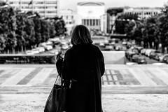 Roma / Rome; Woman At E.U.R. (drasphotography) Tags: roma rome rom italy italia streetphotography strasenfotografie woman bokeh monochrome monochromatic blackandwhite bw sw schwarzweis drasphotography nikon d810 nikkor2470mmf28 eur travel travelphotography reise reisefotografie monotone