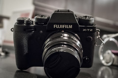 Made by Fujifilm, captured by Canon. (stratman² (2 many pix and busy)) Tags: canonphotography powershotg7xmarkii cameraporn shallowdof fujifilmxt2 blackcameras lowsaturation iso3200