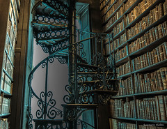 Going Spiral (jeanmarie's photography) Tags: jeanmarieshelton jeanmarie library books stairs spiralstaircase architecture adobelightroom nikon tamron detail texture indoors historical trinitycollege