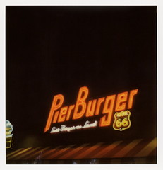 Pier Burger Neon 1 (tobysx70) Tags: the impossible project tip polaroid slr680 frankenroid sx70 door rollers color film for 600 type cameras impossaroid pier burger neon end of trail route 66 santa monica california ca sign lit illuminated night nocturnal lastburgeronland hamburger fries frozen custard restaurant rt rte mother road 031017 cromwalk polawalk toby hancock photography