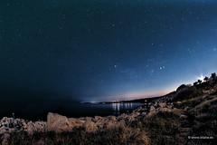 Nightscape in Puglia (Italy) (blaise3d) Tags: nightscape stars nightsky ccd puglia salento santa cesarea terme italy italia seaside sea cliffs sunset night silence astronomy astrophotography ccdstack noise orion zodiac