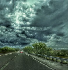on the stormy road (Pejasar) Tags: road weather storm hiway travel drive turnpike oklahoma clouds