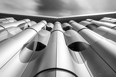 Unhappy Face (~g@ry~ (clevedon-clarks)) Tags: cybermandrwho life sciences building fuji xt1 lookingup architecture architectural blackwhite bw monochrome bristol university blackandwhite abstract texture curve depthoffield minimalism text surreal diagonal