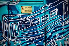 Multitrack drifting (Melissa Maples) Tags: софия sofia българия bulgaria europe nikon d3300 ニコン 尼康 nikkor afs 18200mm f3556g 18200mmf3556g vr winter mural graffiti streetart art transformerbox jensbesser train blue bulgarian text sign