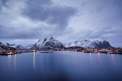 Reine. (jan.wallin) Tags: norway lofoten nikond750 travel afsnikkor142428 nordland norge no dusk bluehour lights mountain snow snowcap