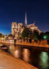 Notre Dame en la hora azul (Perurena) Tags: iglesia church catedral arquitectura gótico rio river sena orilla paseo nooche night nocturna largaexposición longexposure cielo sky paris francia