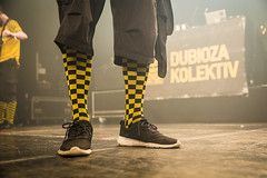 Amsterdam, The Netherlands  -16 April 2017: concert of Bosnian rock music band Dubioza Kolektiv at venue Melkweg -40 (CloudMineAmsterdam) Tags: dubiozakolektivmelkwegamsterdam amsterdam artists band concert concertlights crowd editorial electricguitar entertainment europe event gathering rock dub leisure lights loud music musician netherlands holland party people performance show singer vocals cheering audience happysmile fun hiphopreggae feet shoes yellow black stage