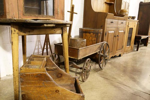 "Wooden ""Express"" Wagon ($201.60); Dry Sink ($201.60); 3 Legged Table ($257.60)"