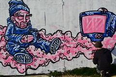 MR SLEVEN (Di's Free Range Fotos) Tags: mrsleven graffiti bristoltobrighton livegraffiti action painting spraypaint art hiphop grunge brighton