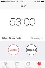 Day 53 (Wouter de Bruijn) Tags: screenshot break 365 53 stopwatch resume iphone cancel iphone4 uploaded:by=flickrmobile flickriosapp:filter=nofilter