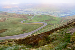 The Winding Road (rschurchill) Tags: road morning england sun mountains misty sunrise unitedkingdom peakdistrict hills winding tor rise mam castleton