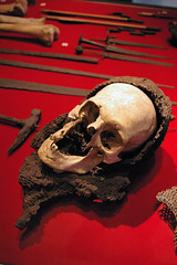 Skull From Visby Found in Chainmail (historicalbodies) Tags: skeleton denmark soldier army skull clothing europe sweden military battle medieval bones combat armour remains visby 1300s battleofvisby