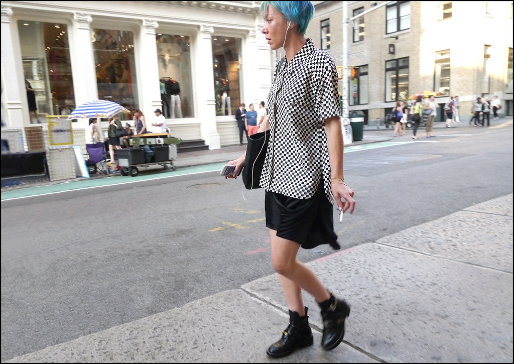 4 w black white check shirt black skirt buckle black ankle boots blue hair ol rt l sat