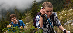 Bandera Mountain Climb (gclenaghan) Tags: people fog trekking washington unitedstates hiking evergreen cascades stare wildflowers poles alla yannick northbend banderamountain sigma30mmf14dchsm t1i