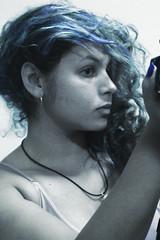Ghost? (TheJennire) Tags: camera blue light portrait people luz me girl face self canon hair cores photography mirror photo eyes colours foto young colores teen cheeks 365 fotografia curlyhair bluehair camara cabelo pelo cabello 365days tumblr