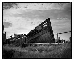 skippool_rb67_001 (D_M_J) Tags: white black west abandoned mamiya film monochrome river boats mono coast boat north lancashire shipwreck epson wreck ilford v550 wyre fylde skippool rb67 stannah