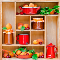 Apricot jam and apricots on the wooden shelves with red mug (L'Azdora) Tags: thanksgiving autumn summer food orange macro fall glass fruits horizontal closeup fruit breakfast dessert leaf open sweet nobody spoon fresh homemade jar jelly apricot organic jam preserve fruity preserves freshness marmalade ripe nutrition ingredient harvesting conserve harvesttime harvestfestival preservingglass fixings apricotjam directlyabove sweetfood apricotjelly