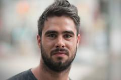 Dennis. (Daifuku Sensei) Tags: portrait toronto beard earlymorning strangers stranger dennis dogwalking 85mmf14 stclairavenuewest nikond300 banderaca