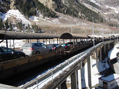 In Switzerland trains take cars thru mountains!
