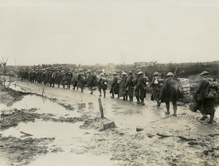 New Zealand Reinforcements on their way to the front line World War I