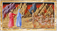 Inferno - Dante and Virgil meeting Guido di Montefeltro (petrus.agricola) Tags: brown london dan dante library illuminated inferno british 36 manuscript divina thompson canto yates commedia bl alighieri