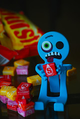 Starburst Junkie (craftyalliekat) Tags: toy candy humor d80