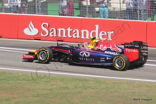 Daniel Ricciardo in his Red Bull in Free Practice 2 at the 2014 German Grand Prix