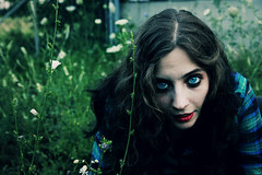 The Kill (America Ives) Tags: flowers blue red portrait girl face field grass closeup canon scary eyes pretty day blueeyes lips redlips