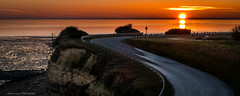 The road of the sun (Jean-Luc Peluchon) Tags: fz1000 lumix panasonic sea ocean beach sunset sun color road nature atlantique outdoor wild water orange landscape cliff wow brilliant