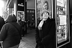Glare but not an angry look (tomavim) Tags: hat scarf tie tied woman elderly glasses tramstop stare glare prague světozor vodičkova