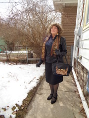"You Call This ""Spring?"" (Laurette Victoria) Tags: snow woman brunette curly laurette wisconsin pencilskirt jacket gloves scarf purse"