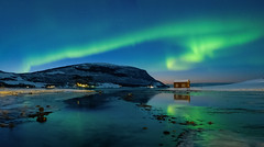 Aurora in Kasfjord (Reidar Trekkvold) Tags: atlantic fujifilm ice kveld kvæfjord landscape mountain natur nature nordnorge norway outdoor seascape seaside sjø snow snø troms vinter water winter xf1855ois xt2 lights northern