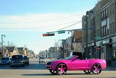 Pink Camaro (Cragin Spring) Tags: unitedstates usa unitedstatesofamerica midwest milwaukee milwaukeewi milwaukeewisconsin wisconsin wi city urban chevy chevrolet camaro pink car intersection chevycamaro building street