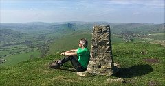 14 of 52 trig points (Ron Layters) Tags: 2017 ronlayters selfportrait 52trigpoints highwheeldon trigpoint whitepeak green limestone springhasarrived vista hills ancientreefs atols sitting landscape countryside pillar tp3813 fbs4154 peakdistrict peakdistrictnationalpark earlsterndale derbyshire england unitedkingdom 52weeks 52 phonecamera iphone apple appleiphone6 selftimer tripod 10secondtimer weekfourteen week14 14