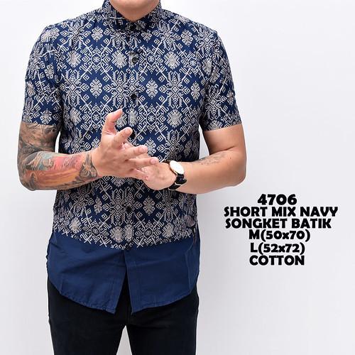 4706 Short Mix Navy Songket Batik M-L