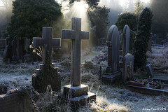 Arno's Vale December 2016 (zolaczakl) Tags: bristol arnosvalecemetery december decemberinarnosvalecemetery photographybyjeremyfennell nikond7100 sigma1835mmf18dchsmlens 2016 gravestones graveyard grave headstone frost winterlight winter cross