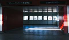U-bahn snapshot #12 (desomnis) Tags: wien vienna austria österreich lightandshadow shadows light urban ricoh ricohgr ricohgrdigital desomnis window station u1 lines colorful colourful undergroundstation