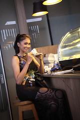 At the Coffee Shop (vitaraman) Tags: ponytail coffee shop karina klink tower